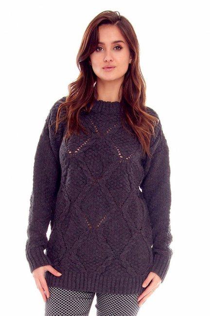 Sweter z półgolfem CMK2059 grafitowy