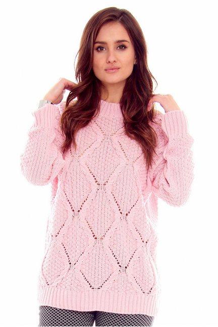 Sweter z półgolfem CMK2059 różowy