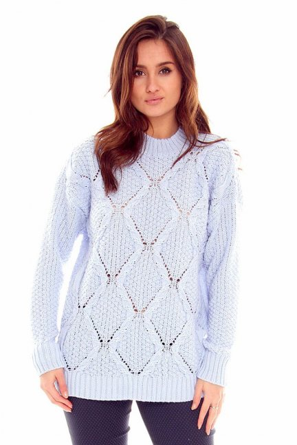 Sweter z półgolfem CMK2059 błękitny