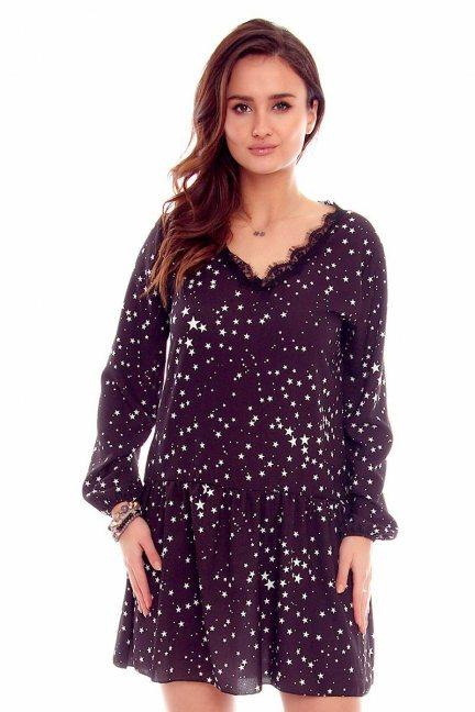 Sukienka mini w gwiazdki CMK788 czarna