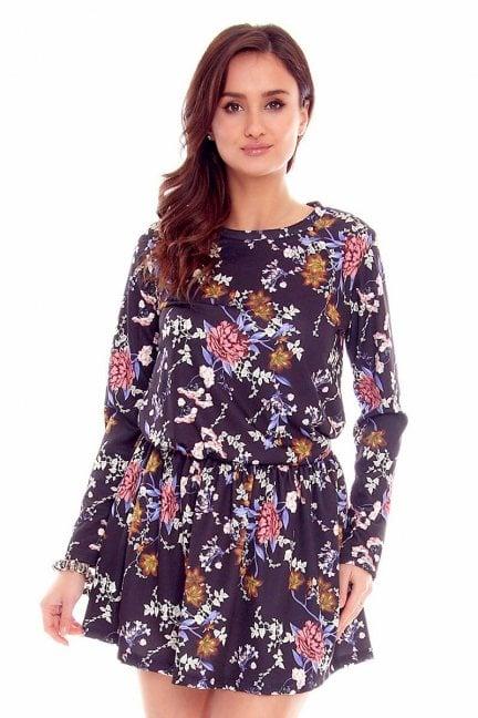 Sukienka mini w kwiaty CMK779 granatowa