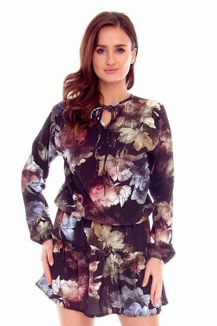 Sukienka w gumkę kwiaty CMK781 czarna