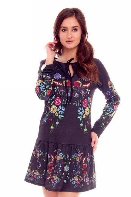 Sukienka wizytowa w kwiaty CMK789 czarna