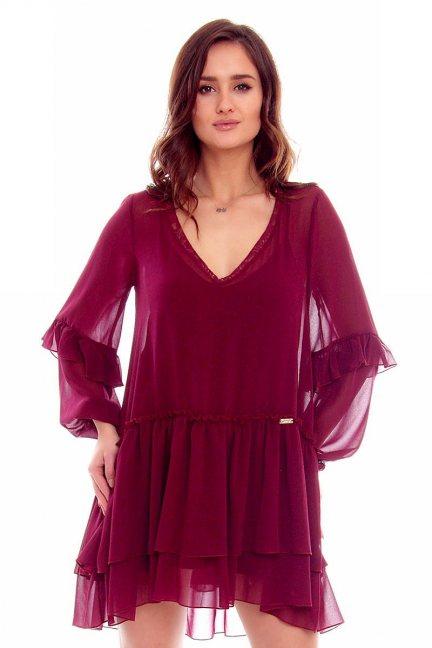 Sukienka mini falbanki CMK788 bordowa