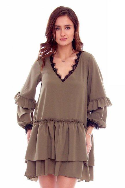 Sukienka z szyfonu falbanki CMK788 khaki