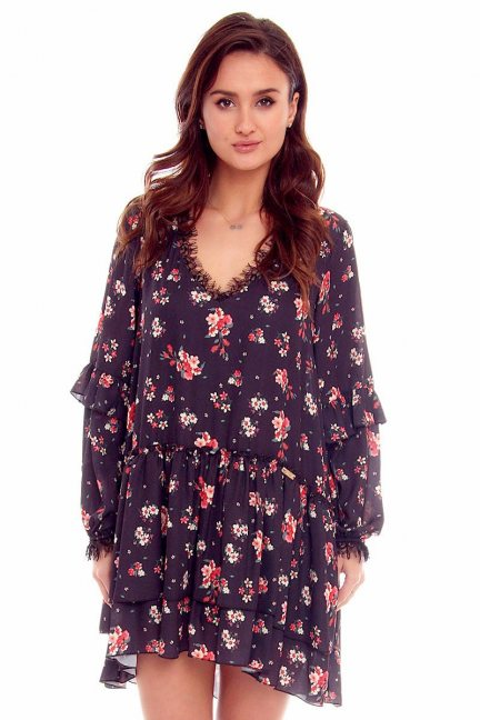 Sukienka falbanki w kwiaty CMK788 czarna