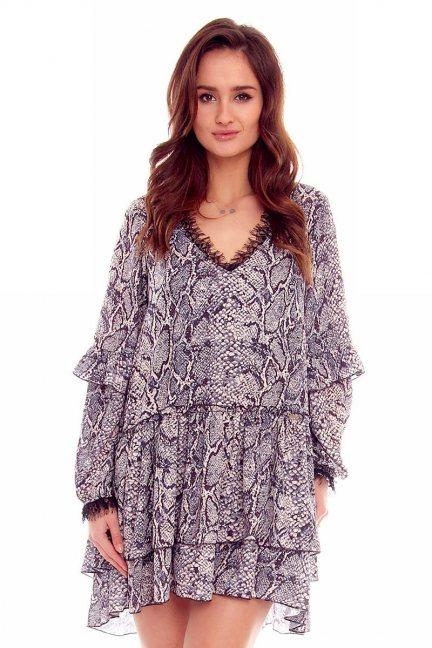 Sukienka falbanki wzór CMK788 szara