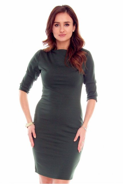 Sukienka ołówkowa midi CMK325 khaki