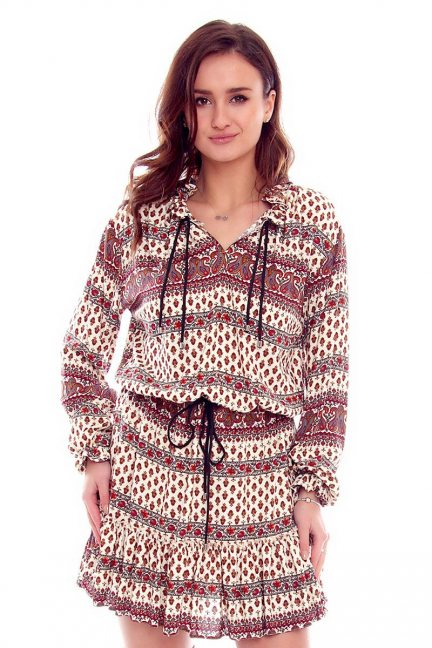 Sukienka damska boho CMK792 kremowa