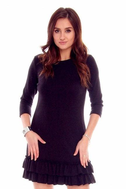Sukienka z falbankami CMK766 czarna