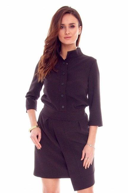 Sukienka elegancka stójka CMK841 czarna
