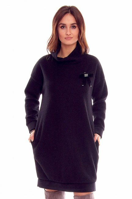 Sukienka golf z kokardką CMK838 czarna
