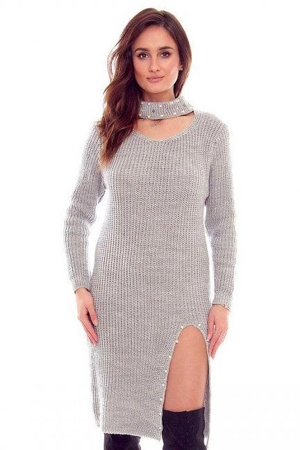 Sweter długi z koralikami CMK811 szary