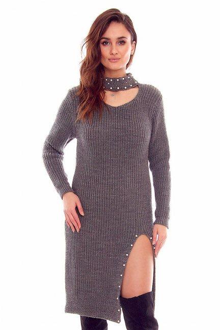 Sweter długi z koralikami CMK811 grafitowy