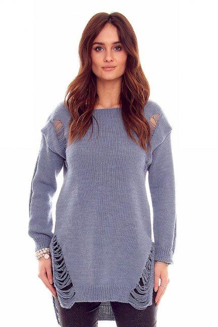 Sweter damski z dziurami CMK836 niebieski
