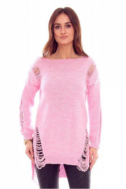 Sweter damski z dziurami CMK836 różowy