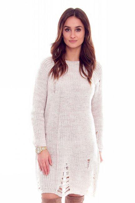Sweter długi perełki CMK835 beżowy