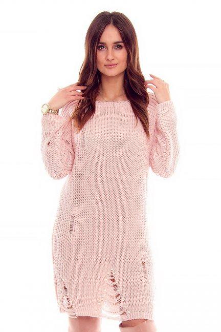Sweter długi perełki CMK835 pudrowy róż