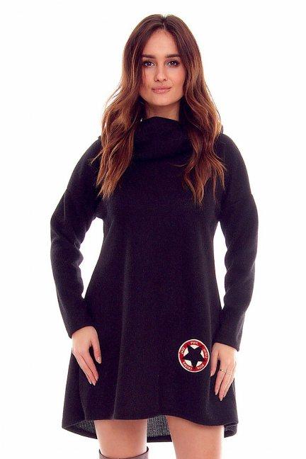 Sukienka damska kaptur CMK826 czarna