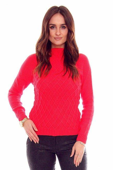 Sweter romby ciepły CMK2014 koral