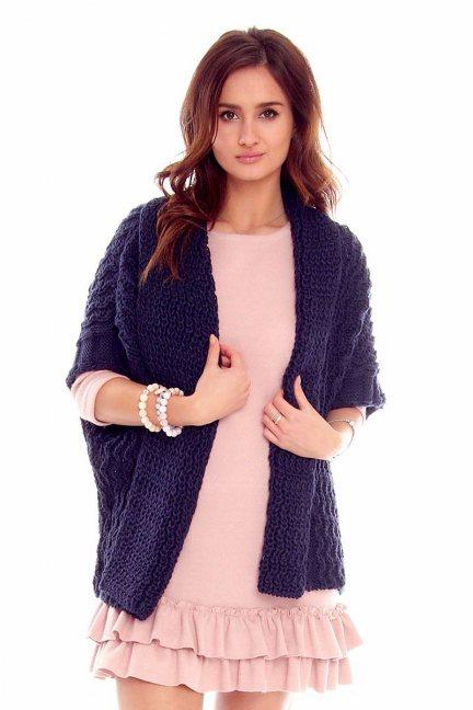 Narzutka damska sweter CMK2050 granatowa