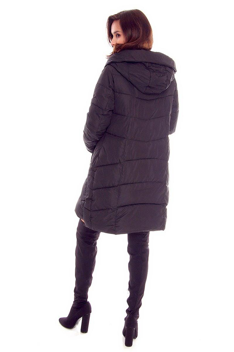 8f141446689ae6 Kurtka długa kaptur CMK806 czarna modne kurtki zimowe sklep CosmosModa