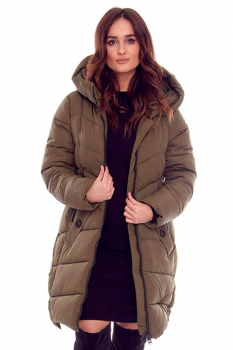 e50475c85fd41 Kurtka długa kaptur CMK806 khaki modne kurtki zimowe sklep CosmosModa