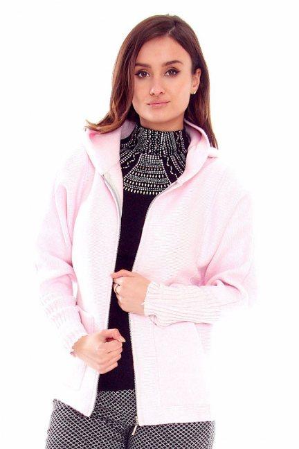 Sweter damski kaptur CMK2057 różowy