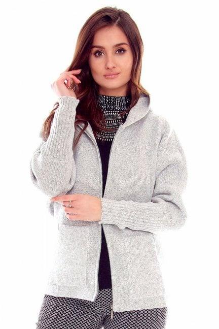 Sweter damski kaptur CMK2057 jasny szary