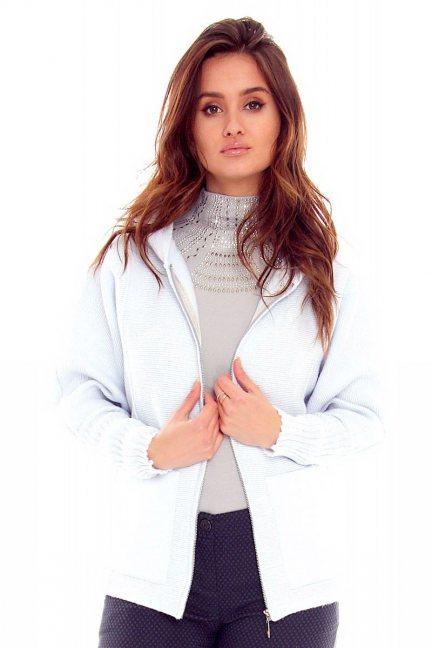 Sweter damski kaptur CMK2057 błękitny
