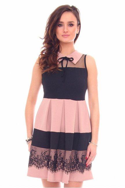 Sukienka rozkloszowana CMK915 różowa