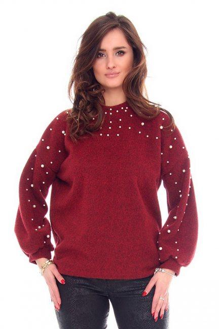 Sweter modny z perełkami CMK916 bordowy