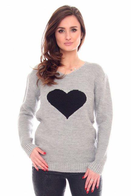 Sweter ciepły z sercem CMK917 szary