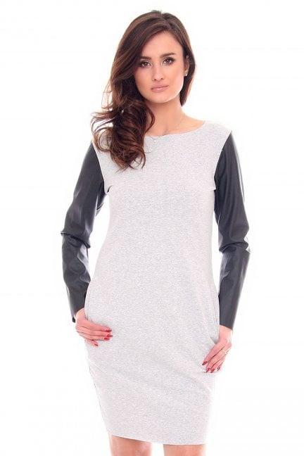 Sukienka tuba skórzany rękaw CM200 szara