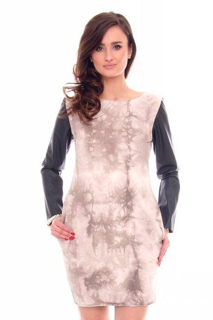 Sukienka tuba skórzany rękaw CM200 różowa