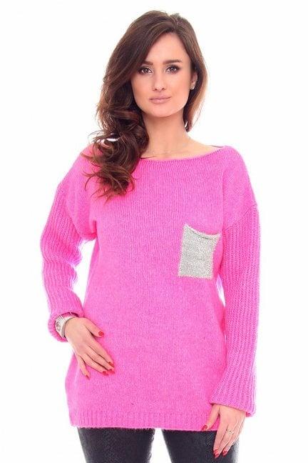 Sweter tunika z kieszonką CMK918 różowy