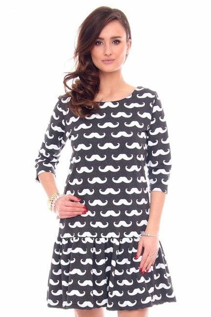 Sukienka falbanka w wąsy CM211 grafitowa