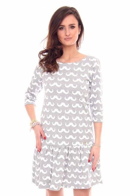 Sukienka falbanka w wąsy CM211 szara
