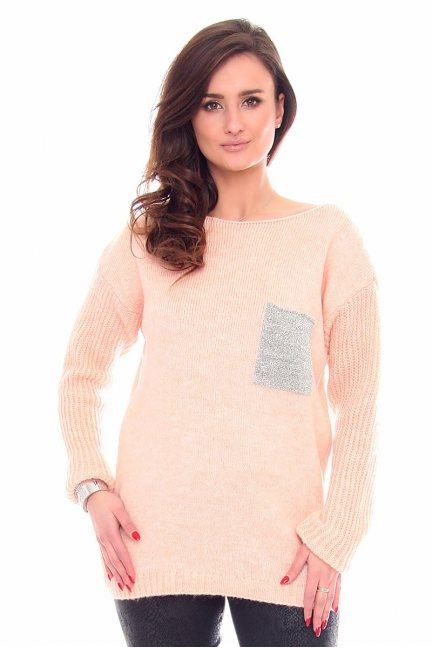 Sweter tunika z kieszonką CMK918 morelowy