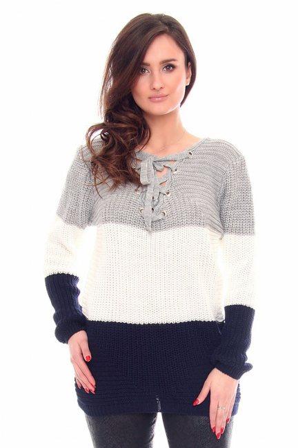 Sweter oversize pasy CMK919 granatowy