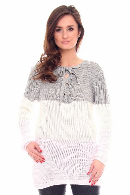 Sweter oversize pasy CMK919 ecru