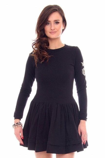 Sukienka rozkloszowana haft CM374 czarna