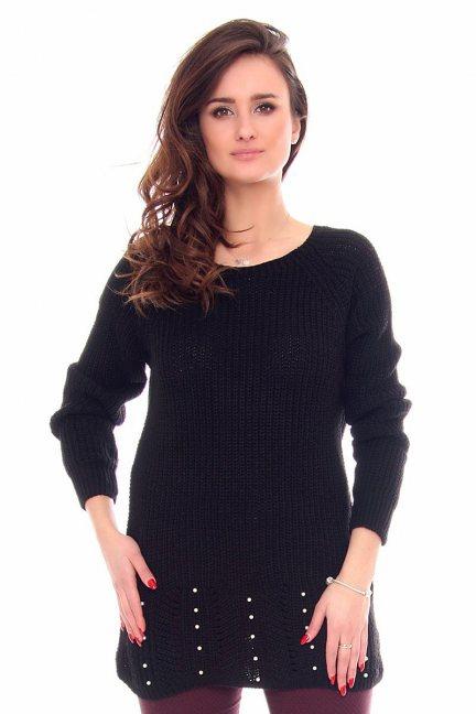 Sweter tunika perełki CMK920 czarny