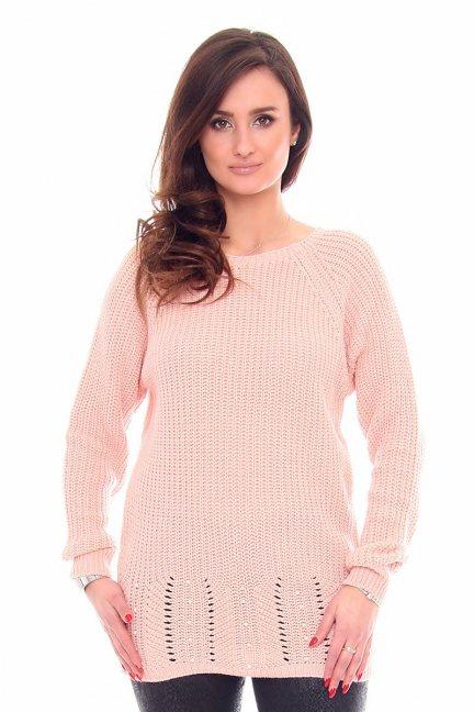 Sweter tunika perełki CMK920 morelowy