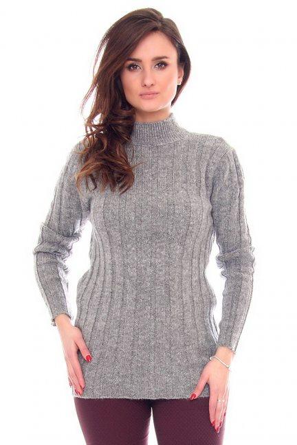 Sweter damski z golfem CMK921 szary