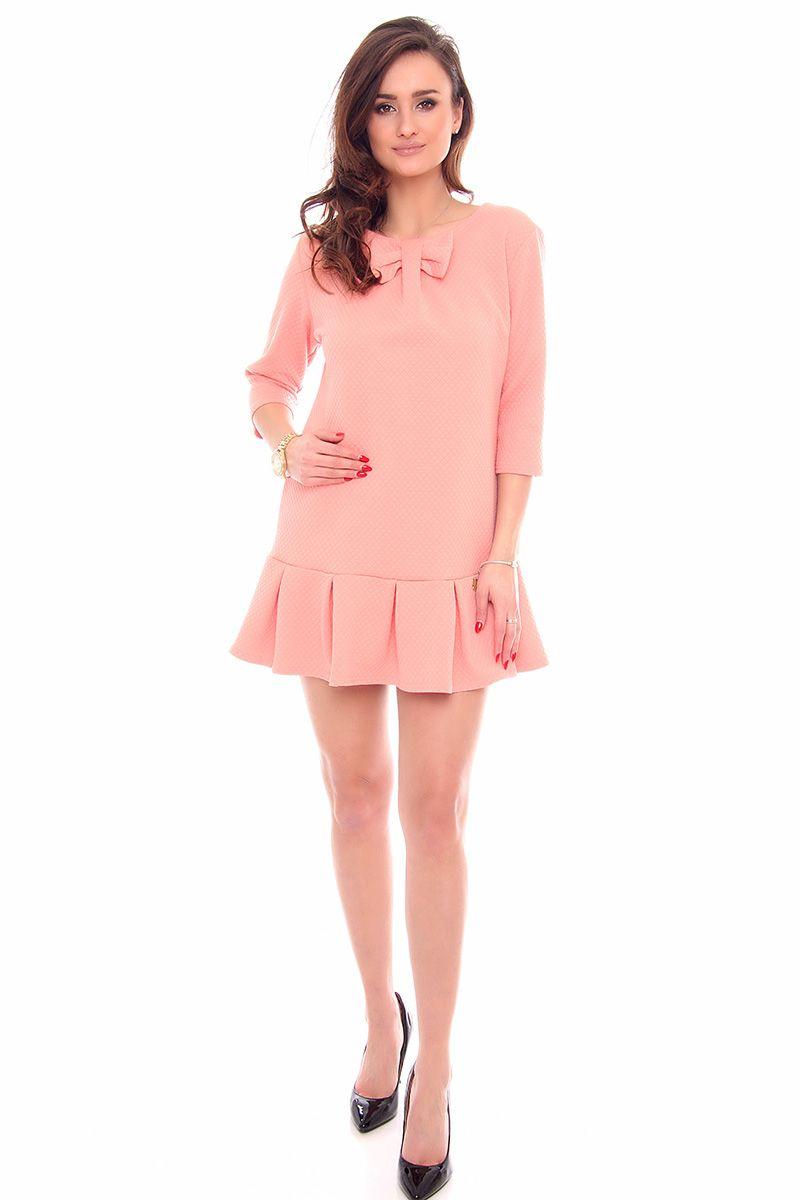 78f1b58c3cc9b Sukienka elegancka z kokardą CM261 morelowa - Sukienki - CosmosModa