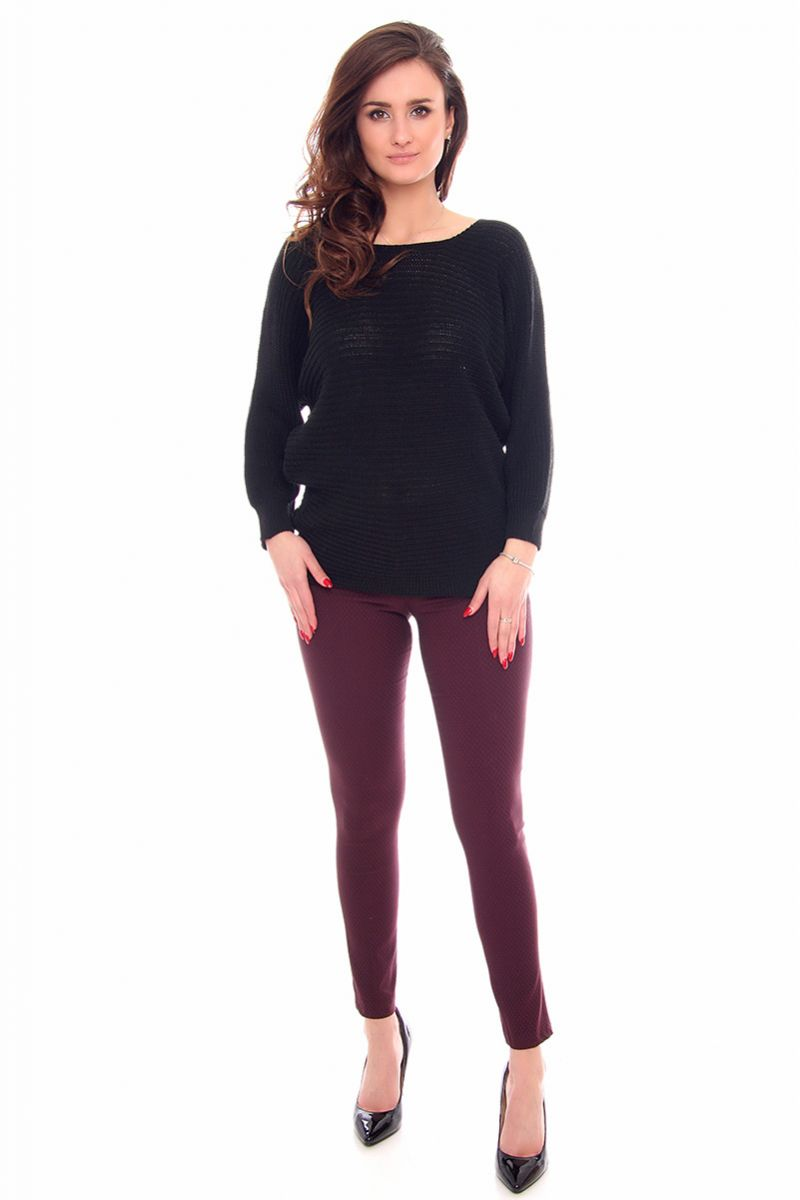 8a7b8913df5a2f Sweter damski oversize CMK923 czarny; Sweter damski czarny; Sweter oversize  czarny; Modny sweter damski; Swetry damskie sklep online CosmosModa