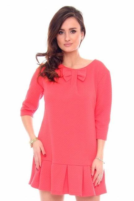 Sukienka elegancka z kokardą CM261 koralowa