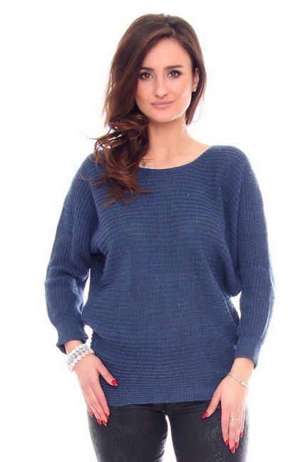 Sweter damski oversize CMK923 niebieski