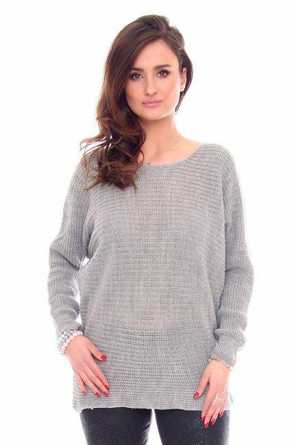 Sweter damski oversize CMK923 szary